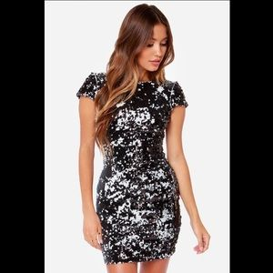Dress the population black sequin tabitha dress